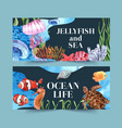 banner design with classic sealife theme creative vector image vector image