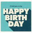 birthday card retro design blue vector image vector image