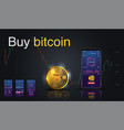 bitcoin icon of golden color on the screen phone vector image vector image