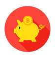 bitcoin piggy circle icon vector image