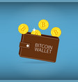 bitcoin wallet with coins vector image vector image