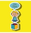 boy kids happy cube icon vector image