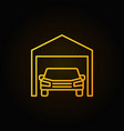 car in garage yellow icon - outline sign vector image vector image