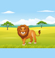 cartoon lion with african landscape background vector image vector image