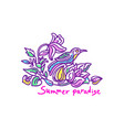 color nature card tropical summer paradise exotic vector image vector image