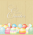 colorful happy easter greeting card with eggs and vector image vector image