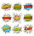 comic words cartoon speech bubble with zap pow vector image vector image