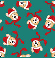 corgi santa claus with red scarf on green vector image