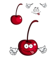 Cute cartoon cherry fruit giving a thumbs up vector image