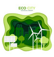 Eco city ecological concept green paper cut