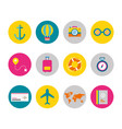 flat icon set of travel elements vector image