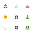 flat icons sprout water landscape vector image vector image