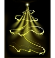 Golden Christmas tree with a star and snowflakes vector image