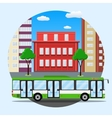 green city busin front of houses vector image vector image