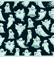 halloween ghost pattern cartoon seamless monsters vector image vector image