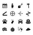 hunting tools icons vector image