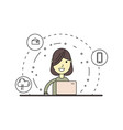 linear cute and happy woman with laptop vector image vector image