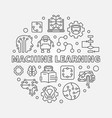 machine learning concept round vector image vector image