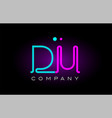 neon lights alphabet du d u letter logo icon vector image vector image