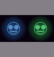 neon stylish emoji in blue and green color vector image vector image