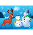 of landscape with snowmen and deer vector image vector image