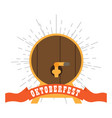 oktoberfest label with a wooden beer barrel icon vector image vector image