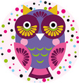 Owl on a pink background in colored polka dots vector image vector image