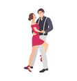 pair elegantly dressed boy and girl dancing vector image vector image