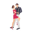pair of elegantly dressed boy and girl dancing vector image