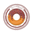 plate with chocolate donut and colored dragees vector image