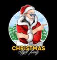santa claus wears dark glasses at christmas vector image vector image