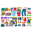 set fashion outfits and accessories on white vector image