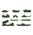 set isolated war or military vehicle ship vector image vector image