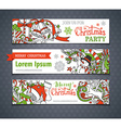 set of cartoon Christmas banners vector image