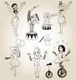 set of human circus characters vector image