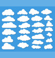set of many white clouds with shadow on blue sky vector image
