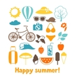 Set of stylized summer objects Design for cards vector image vector image