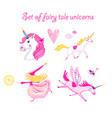 set unicorns vector image vector image