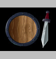 sharp sword with shield vector image vector image