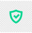 tick mark in shield icon vector image vector image
