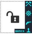 unlock icon flat vector image