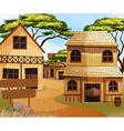 Western old town with houses and shops vector image