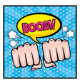 woman fist hands with chat bubble and boowm vector image vector image