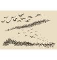 Hand drawn landscape flying birds forest vintage vector image