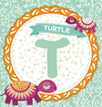 ABC animals T is turtle Childrens english alphabet vector image