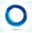 Blue brush painted watercolor circle vector image