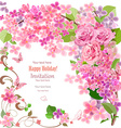 lovely invitation card with flowers and butterfly vector image