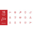 15 privacy icons vector image vector image