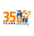 35 year gift box ribbon anniversa vector image vector image