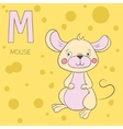 Alphabet letter M mouse children vector image